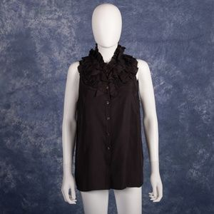 J.Crew 100% Silk Ruffle Black Blouse